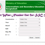 Subject Wise Number list for SSC Result