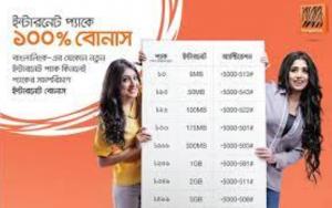 Banglalink Night Internet Package 100% Bonus Offer 2021